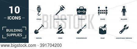 Building Supplies Icon Set. Monochrome Sign Collection With Hammer, Socket, Dangerous Area, Trowel T