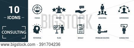 Consulting Icon Set. Monochrome Sign Collection With Focus, Expert, Advice, Coaching And Over Icons.