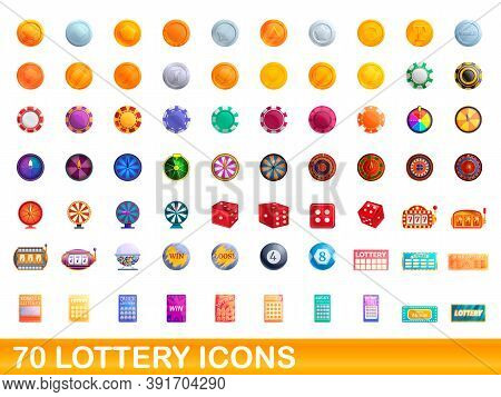 70 Lottery Icons Set. Cartoon Illustration Of 70 Lottery Icons Vector Set Isolated On White Backgrou