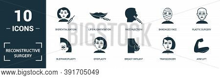 Reconstructive Surgery Icon Set. Monochrome Sign Collection With Penis Enlargement, Hair Transplanta