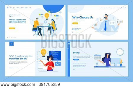 Set Of Website Template Designs Of Seo, Web Analytics, Market Research, Business Consulting, Events.