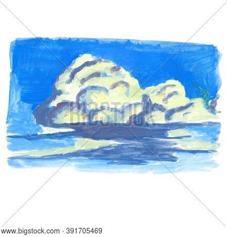 Cumulus White Clouds, Sunlit Violet Shadows, Bright Summer Sky - Hand-drawn Tempera Illustration