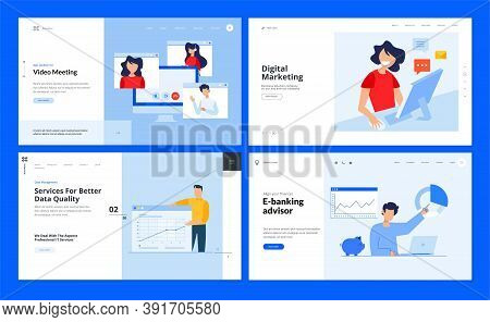 Set Of Website Template Designs Of Video Meeting, Digital Marketing, Data Analysis, E-banking. Vecto