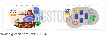 Woman Fortun Teller Reading Tarot Cards And Predict Future. Esoteric And Divination Vector Concept I