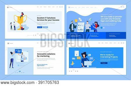 Set Of Website Template Designs Of Marketing, Graphic And Web Design, Social Media, Market Analysis,