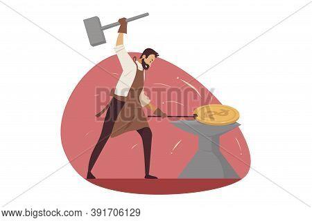 Investment, Business, Mining Concept. Businessman Manager Worker Entrepreneur Blacksmith Forging Gol