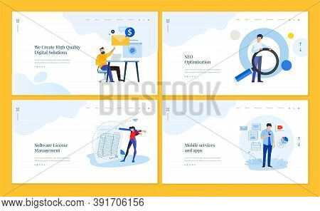 Set Of Website Template Designs Of Social Network, Internet Marketing, Seo, Mobile Services And Apps