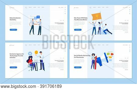 Set Of Website Template Designs Of Data Analysis And Statistics, Teamwork, Our Team Page, Social Med