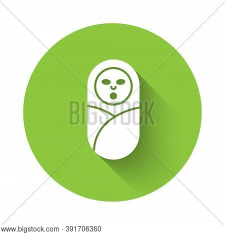 White Newborn Baby Infant Swaddled Or Swaddling Icon Isolated With Long Shadow. Baby Kid Child Wrapp