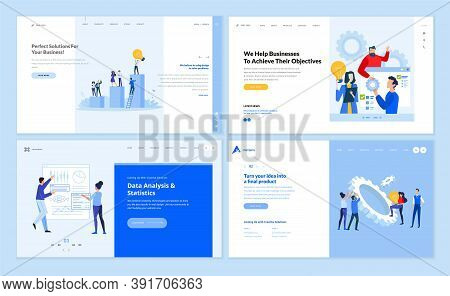 Set Of Website Template Designs Of Business Success, Project Management, Big Data Analysis, Startup,