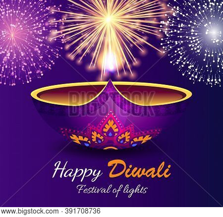Happy Diwali, Festival Of Lights. Bright Festive Fireworks On Holiday Celebration. Pyrotechnics Show