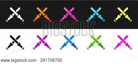 Set Marshalling Wands For The Aircraft Icon Isolated On Black And White Background. Marshaller Commu