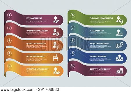 Infographic Company Management Template. Icons In Different Colors. Include Key , Operation Manageme