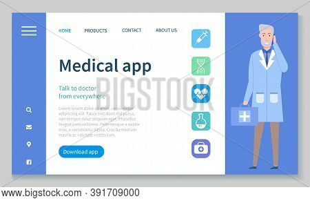Medical App On Smartphone Screen. Mobile Medicine. Health And Medical Consultation Application On Sm