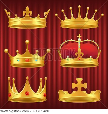 Set Of Golden Crowns, Tiaras And Diadems Decorated With Gemstones. Shiny And Precious Headdress Of R