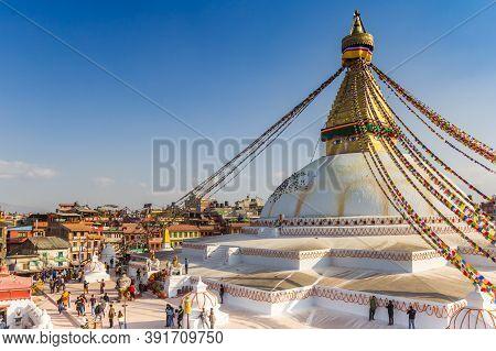 Kathmandu, Nepal - November 14, 2019: Golden Tower On The Boudhanath Stupa In Kathmandu, Nepal
