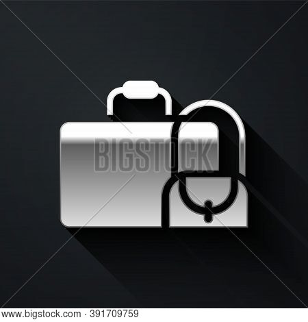 Silver Suitcase For Travel Icon Isolated On Black Background. Traveling Baggage Sign. Travel Luggage