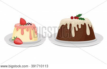 Tasty Pudding Topped With Berry And Creamy Sauce Vector Set