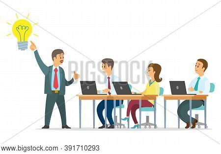 Best Business Idea Vector Illustration. Team Leader Presents An Idea. People Office Workers Generate