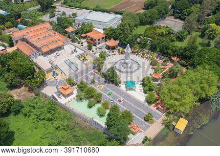 Aerial View Of Guan Yin Shrine, Thien Fah Foundation, Tha Ma Kham, Kanchanaburi District, Thailand.