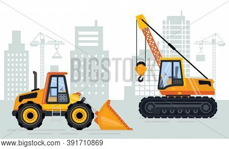 Backhoe And Mobile Crane, Skyscraper And Jenny View, Building Place. Machine With Hook And Scoop, Ur