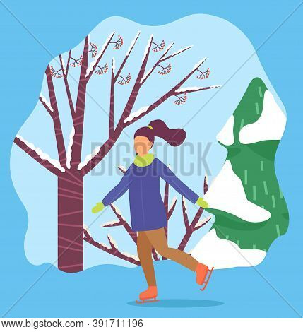 Female In Casual Clothes Skating On Rink Near Snowy Fir-trees. Woman Character Ice-skating Near Tree
