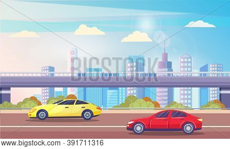 Urban Landscape With Highway And Car On Roads. Skyline Of Modern City. Skyline With Skyscrapers And