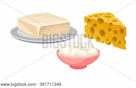 Cheese Slab And Butter On Plate As Dairy Product Vector Set