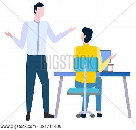 Arguing Man And Woman Discussing Business Issues. Vector Brokers And Hucksters, Collaboration Of Col