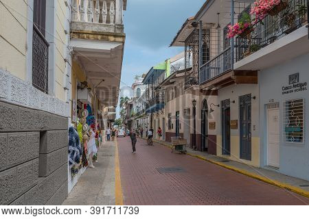 Beautiful Building Facades In The Historic Old Town, Casco Viejo, Panama City