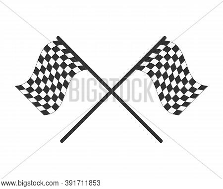 Chequered Flag Icon. Checkered Black And White Sign. Check Grid Pattern Poleflag Illustration. Motor