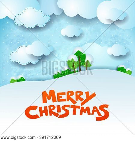 Christmas Snowy Landscape With Text And Copy Space. Vector Illustration Eps10