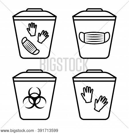 Biohazard Waste Disposal. Bin, With The Symbol Of Infectious Waste. Garbage Sorting Vector Icon. Tra