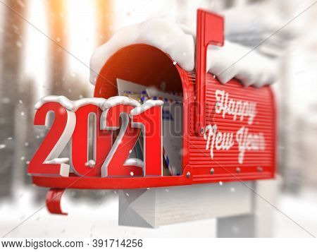 Happy New 2021 Year. Mailbox with letters and number 2021. 3d illustration
