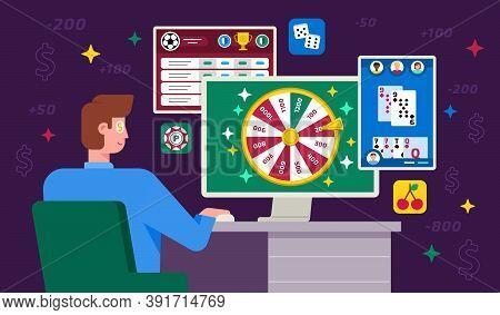 Vector Illustration Of Online Gambling Or Internet Gambling
