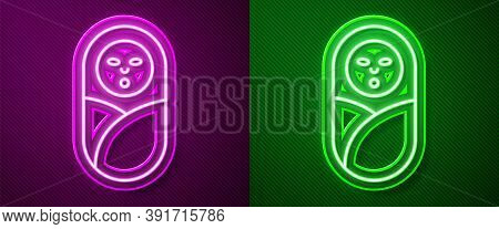 Glowing Neon Line Newborn Baby Infant Swaddled Or Swaddling Icon Isolated On Purple And Green Backgr