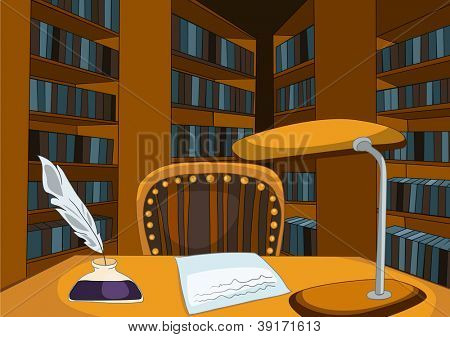 Library Room with Table and Bookshelfs. Vector Cartoon Background.