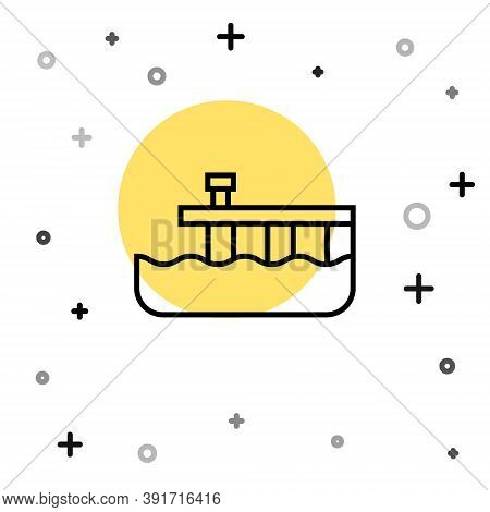 Black Line Beach Pier Dock Icon Isolated On White Background. Random Dynamic Shapes. Vector