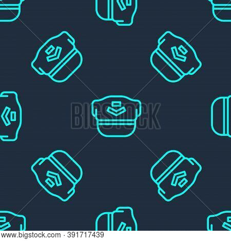 Green Line Pilot Hat Icon Isolated Seamless Pattern On Blue Background. Vector
