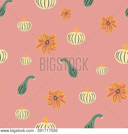 Fall Pumpkins Seamless Pattern. Hand-drawn Pumpkins Of Different Shapes And Flowers On A Dusty Rose