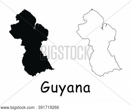 Guyana Country Map. Black Silhouette And Outline Isolated On White Background. Eps Vector