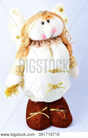Christmas Decorations, Cute Angel Under The Tree, White Suit, On A White Background,
