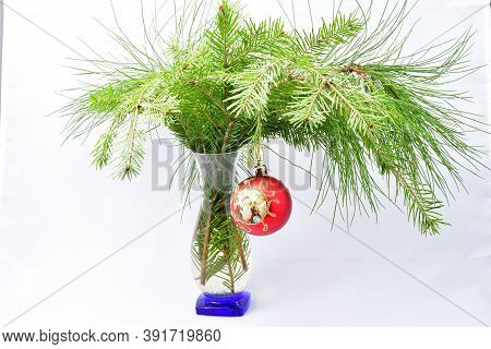 Christmas Decorations, Composition, Vase, Fir Branches, Pine, Red Toy On A White Background