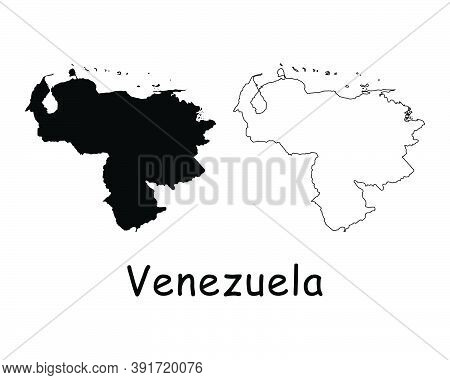 Venezuela Country Map. Black Silhouette And Outline Isolated On White Background. Eps Vector