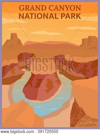 Illustration Vector Design Of Retro And Vintage Travel Poster Of Grand Canyon, Arizona.
