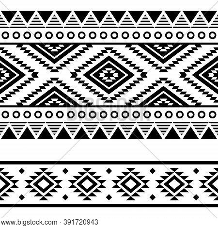Aztec Tribal Geometric Seamless Vector Two Patterns Set, Navajo Geometric Designs In Black And White