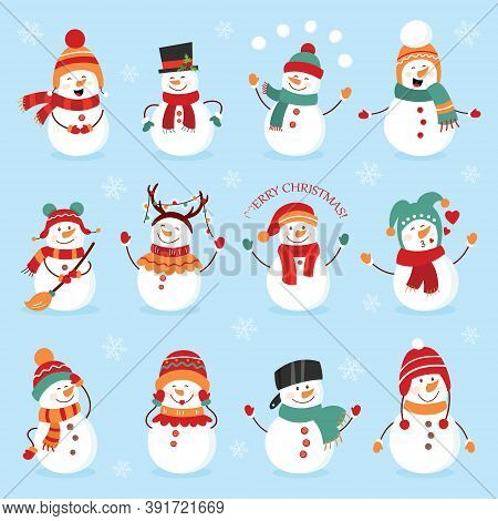 Set Of Winter Holidays Snowman. Cheerful Snowmen In Different Costumes. Snowman Chef, Magician, Snow