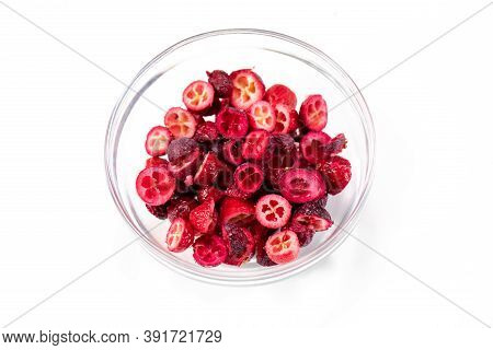 Freeze-dried Organic Lingonberry Cowberry Forest Berries Cutaway In Glass Bowl For Cakes, Handmade C