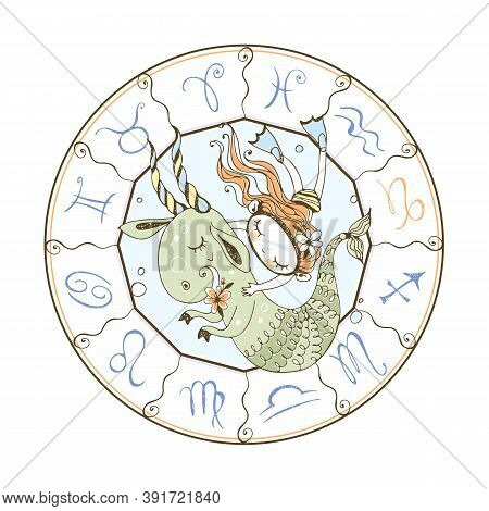 Childrens Zodiac. Sign Of Capricorn. A Girl Swims With A Fabulous Capricorn. Vector