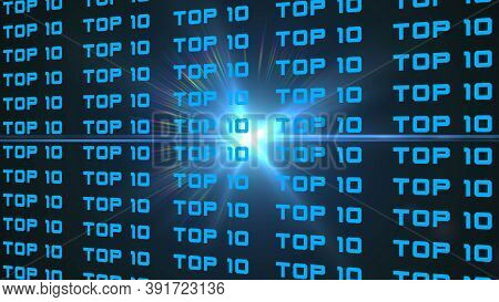 Abstract 3d Graphic Illustration - Repeated Top 10 Lettering In Royal Blue Color Arranged On A Black
